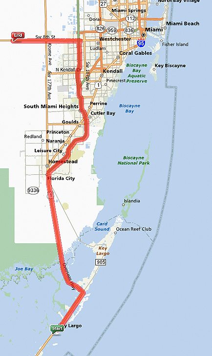 take us 1 north to florida city and take florida turnpike 821 north to exit 25 which is sw 8th street us 41 travel west on sw 8th street for exactly 12